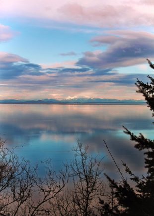 Colorful sky and Mt Baker at Dungeness Spit National Wildlife Refuge Sequim 1