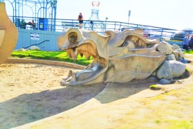 Concrete dragon at Santa Monica Beach 1