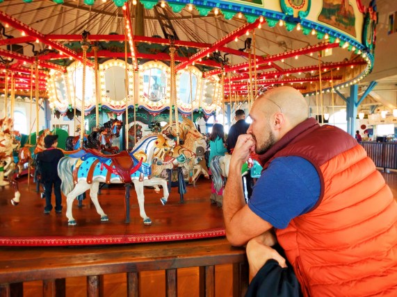Rob Taylor with Carousel Horses at Santa Monicas ferris of wheel 2