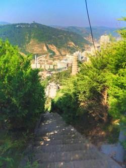 Staircase at Watchtower Drumtower at Baota Pagoda Yanan Shaanxi 3