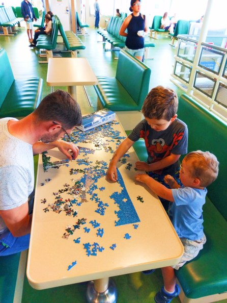 Taylor Family doing puzzles on Port Townsend Ferry 1