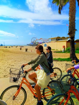 Tourists on Bikes at Santa Monica Beach 1