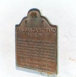 Historical plaque at Mission San Juan Capistrano 1