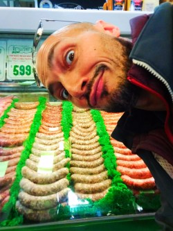 Rob Taylor and sausages at 3rd and Fairfax Market Los Angeles 1
