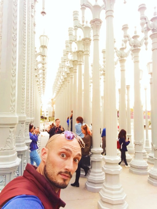 Rob Taylor at Outdoor Lamp Post Installation at LACMA Los Angeles 2