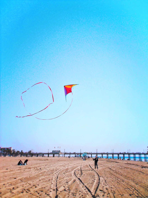 Taylor Family flying kites at Huntington Beach 1