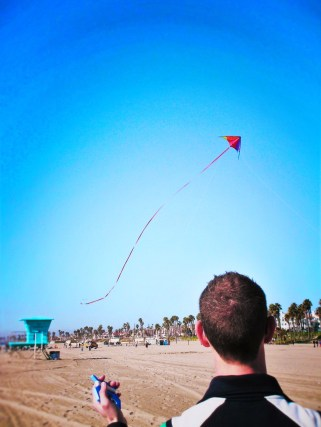Taylor Family flying kites at Huntington Beach 2