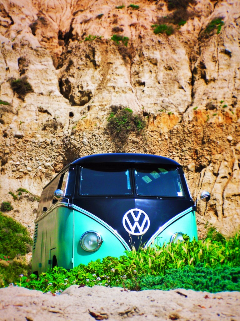 VW Bus at Beach in Southern California