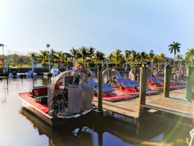 Airboats docked in Everglades City Florida 1