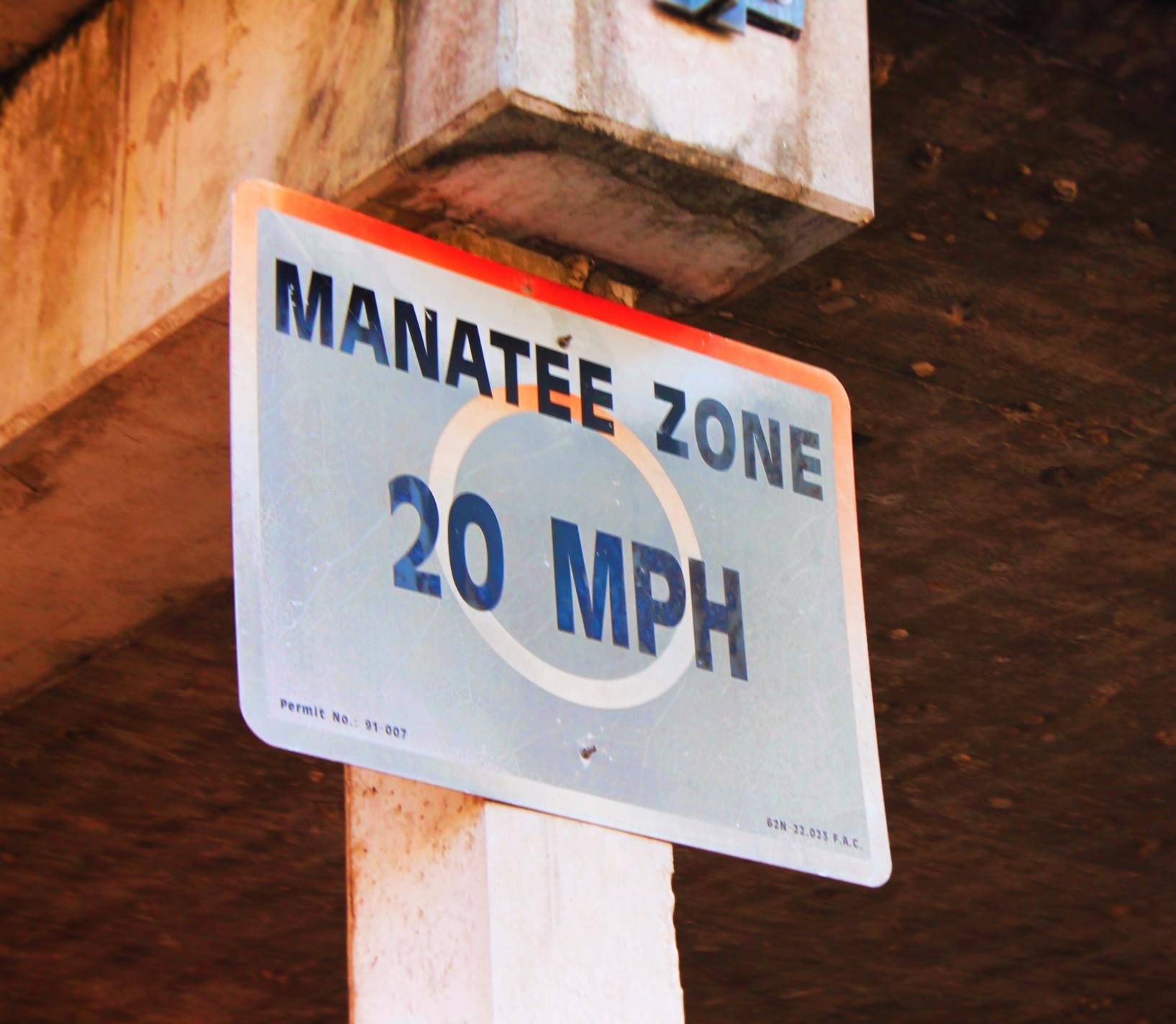 Manatee Zone Speed Sign Everglades City Florida 1