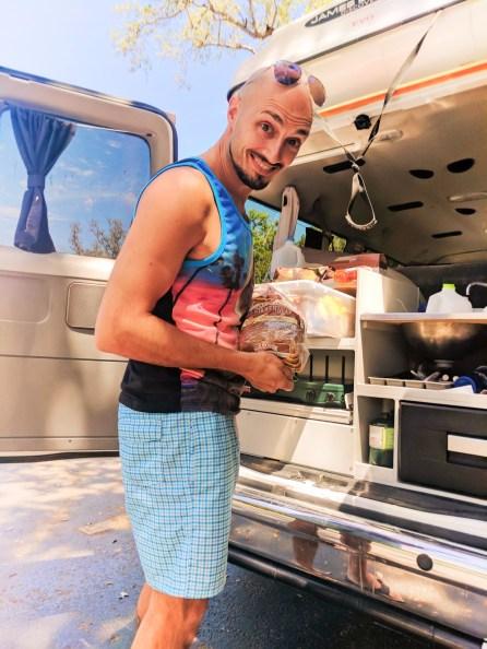 Rob Taylor cooking at Escape Campervan De Soto National Memorial Bradenton 1