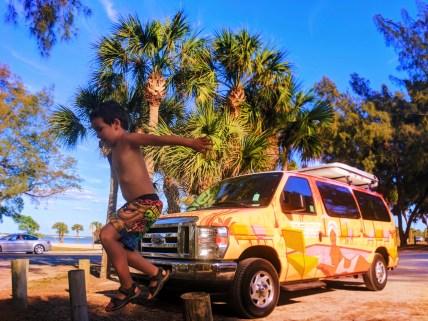 Taylor Family and Escape Campervan at Bradenton Beach Manatee County Florida 3