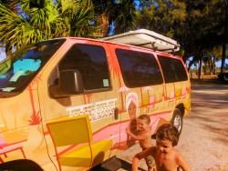 Taylor Family and Escape Campervan at Bradenton Beach Manatee County Florida 4