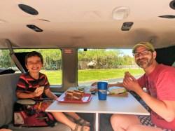 Taylor Family eating in Escape Campervan De Soto National Memorial Bradenton 1