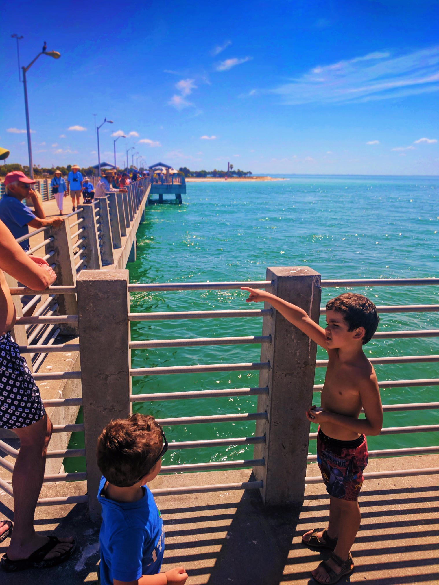 Taylor family on Pier at Fort De Soto Park Campground Pinellas County Florida 1