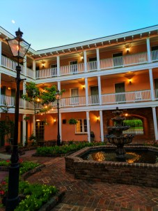 Courtyard with fountain at Malaga Inn in Mobile Alabama historic district 2