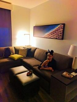 Living area of Double Queen suite at Hyatt House Anaheim Disneyland 1