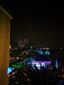 Mickey Mouse Fireworks seen from Hyatt House Anaheim Disneyland 1