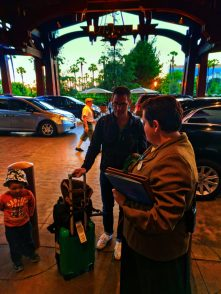Taylor Family arriving outside of Disneys Grand Californian Hotel Disneyland 1