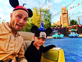 Taylor Family on Luigis Rollickin Roadsters at Cars Land Disneys California Adventure 1