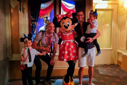Taylor Family with Minnie Mouse on Main Street USA Disneyland 2