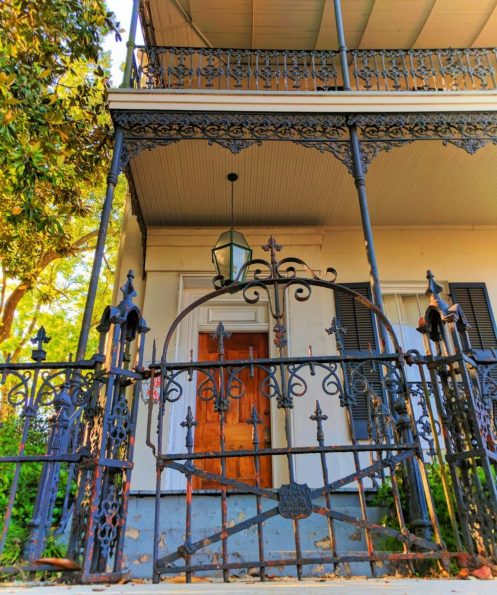 Wrought iron gate and balcony in Mobile Alabama historic district 1