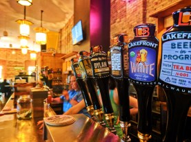 Microbrew taps at Lakefront Brewing Co Milwaukee Wisconsin 1