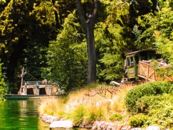 Old train and boat on Rivers of America Frontierland Disneyland 1