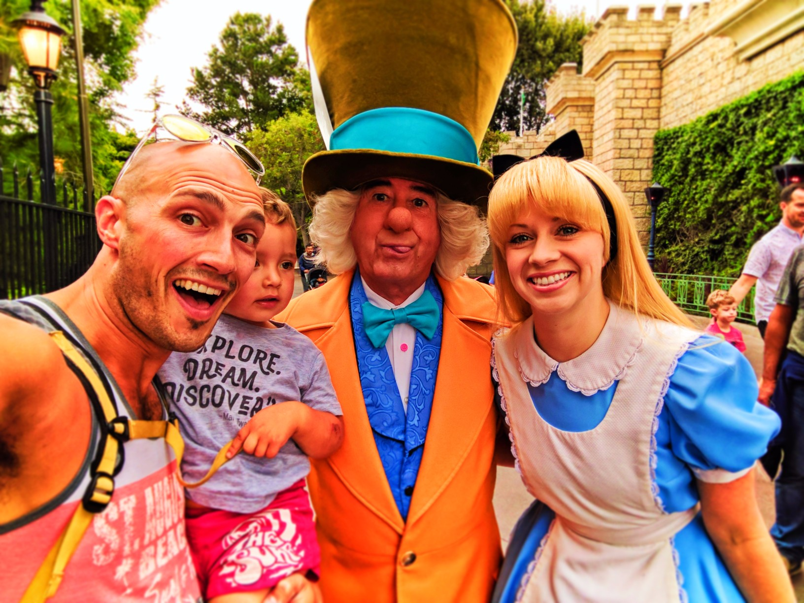 Taylor Family with Alice and Mad Hatter in Fantasyland Disneyland 2