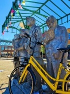 Ofo Bicycle at Waiting for the Interurban sculpture Fremont Seattle 2