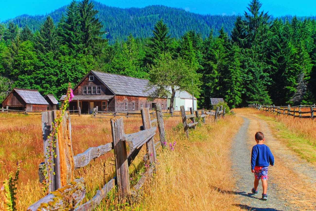 Taylor family at Homestead in Quinault Rainforest Olympic National Park 1