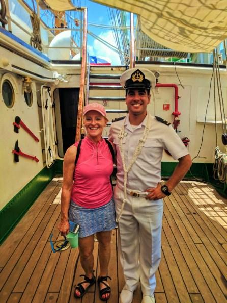 Maureen with Chilean Naval Cadet San Juan Puerto Rico 1