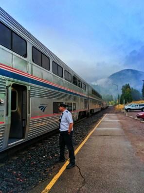 Amtrak Empire Builder arriving in West Glacier MT fall colors 1