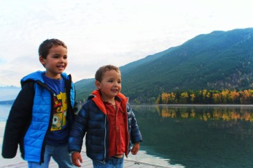 Taylor Family at Lake McDonald in fall at Glacier National Park 14