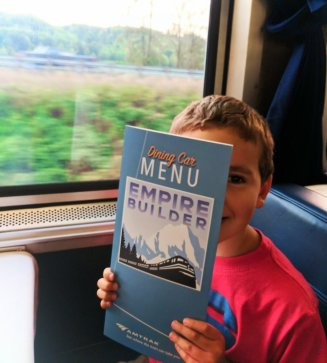 Taylor Family dining on Amtrak Empire Builder 2