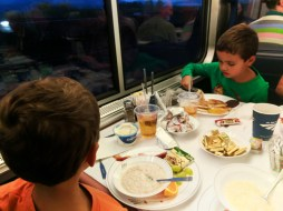 Taylor Family dining on Amtrak Empire Builder 6