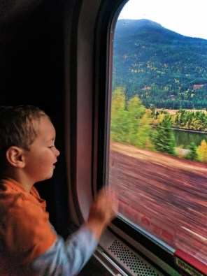 Taylor Family in bunk beds sleeping cab Amtrak Empire Builder 5