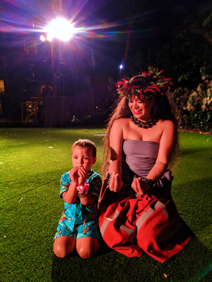 Taylor Family at Ka Waa Luau Disney Aulani Oahu 12