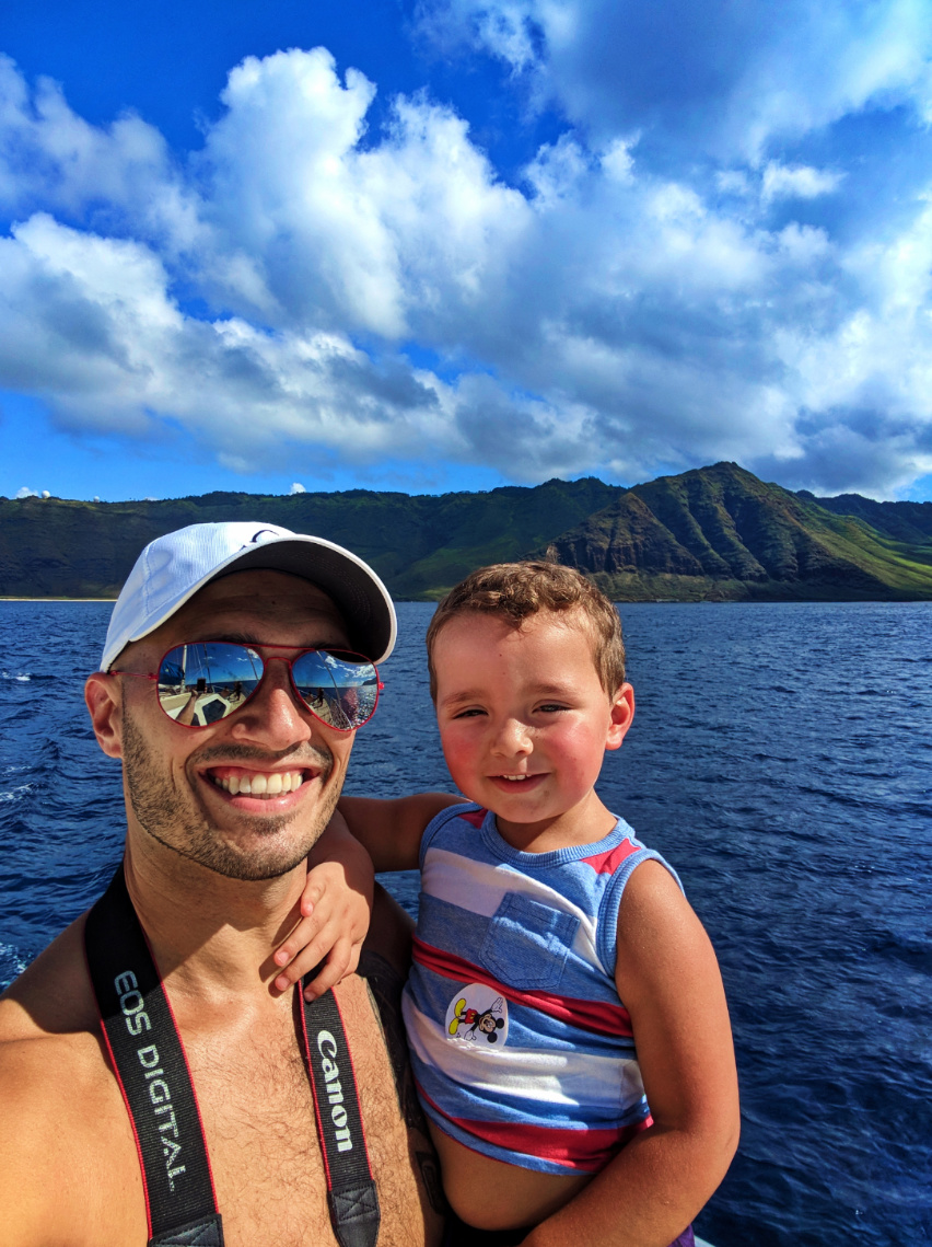 Taylor family on catamaran off Oahu 3