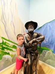 Taylor family with statue at John Muir National Historic Site Martinez East Bay 1