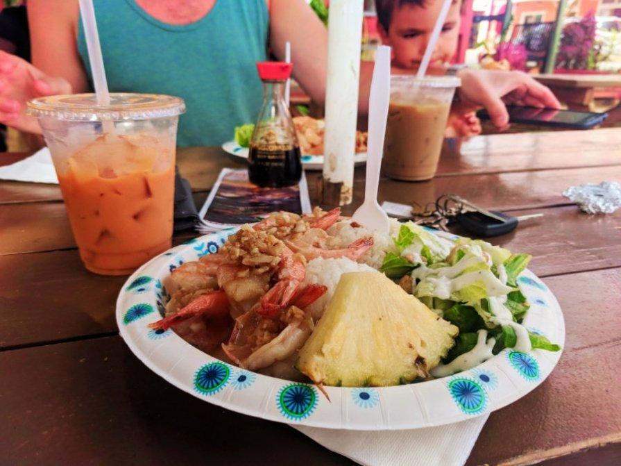 Garlic shrimp at Big Wave Shrimp food truck Oahu North Shore 1