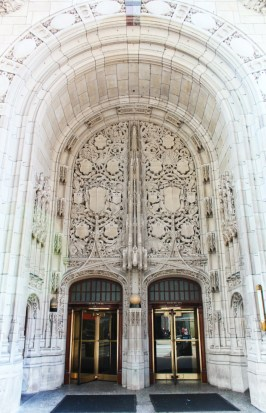 Marble faced entryway Chicago Tribute Building 1