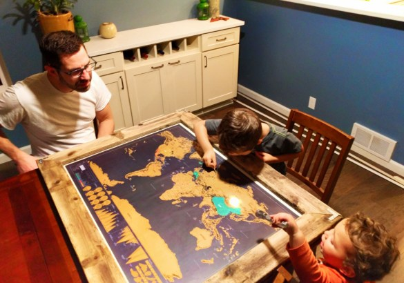 Taylor Family doing scratch map worldschooling 1