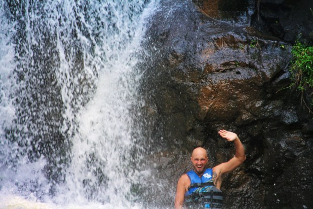 Taylor Family in waterfalls at Waimea Valley North Shore Oahu 11