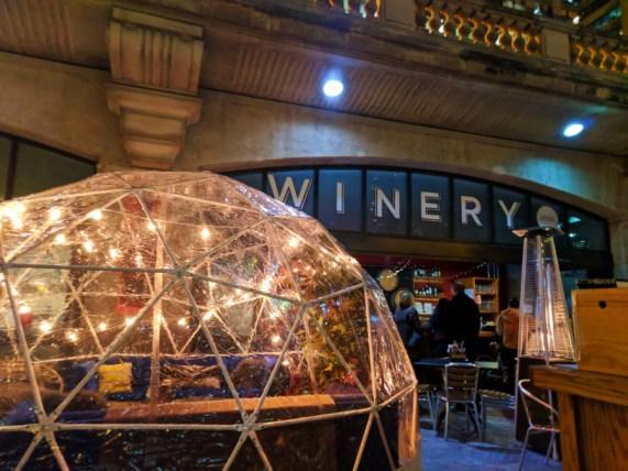 Wine Bar on Chicago Riverwalk at Night Downtown Chicago 1