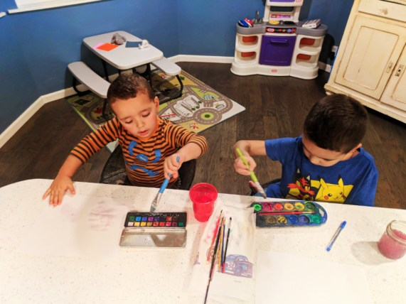 Taylor family painting watercolors at home Self-care 2