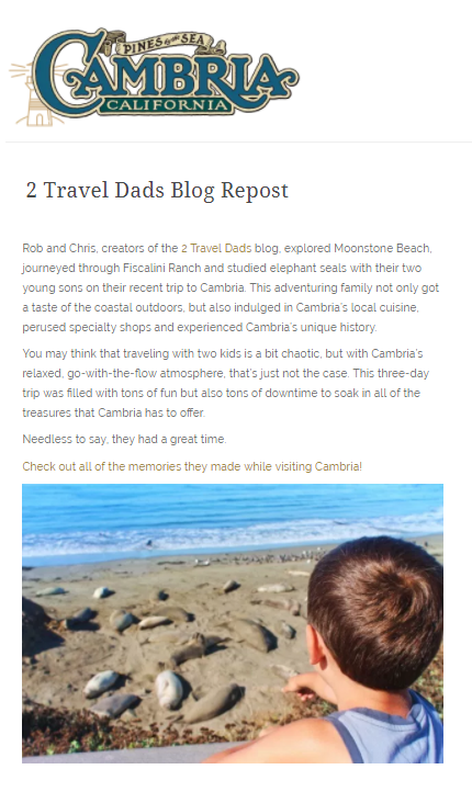 2 Travel Dads Visit Cambria