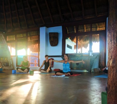 Participants with Joanne Matson at Isla Holbox Yoga Retreat 10
