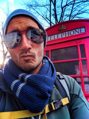 Rob Taylor with red phone booth London UK 1