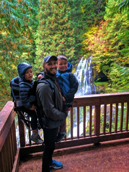 Taylor Family hiking at Panther Creek Falls Columbia Gorge 5